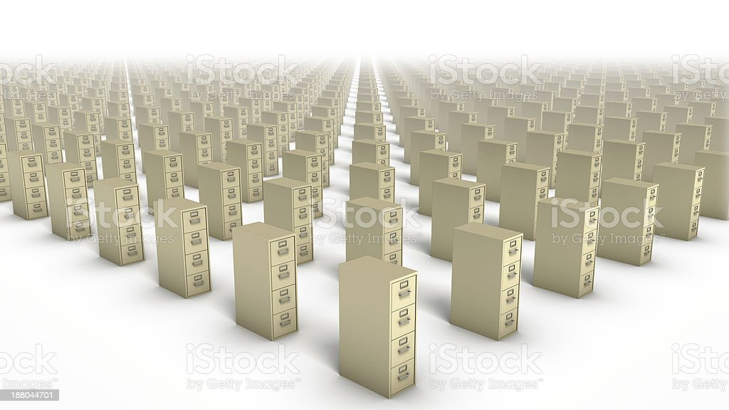 High diagonal view of File Cabinets (Beige) stock photo