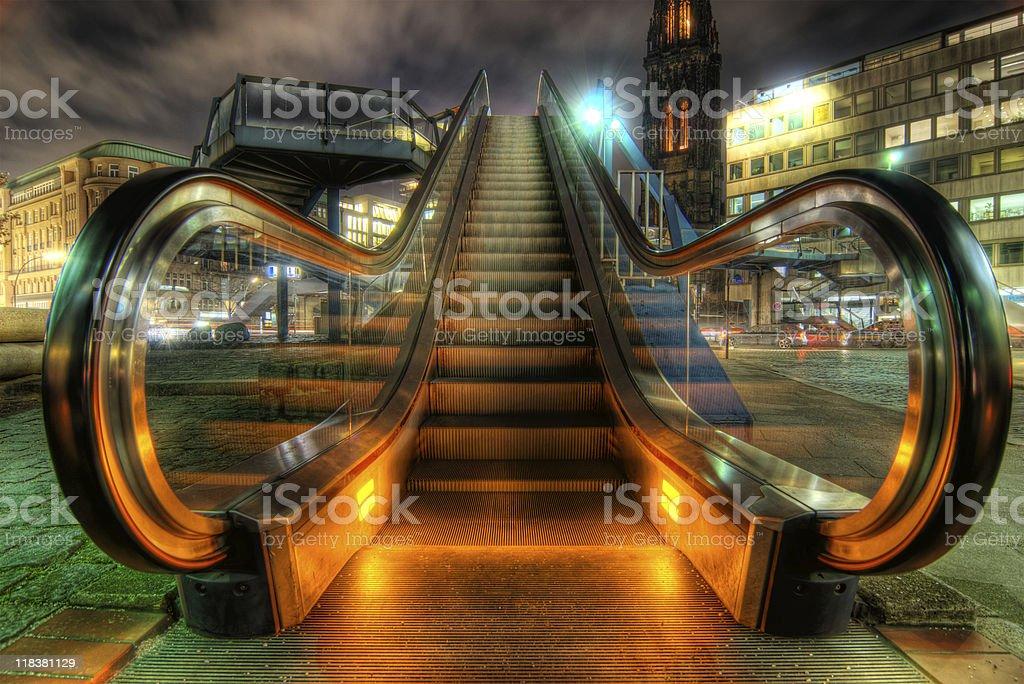 high dynamic range image of escalator in Hamburg, Germany stock photo