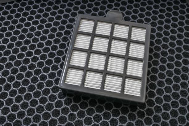 hocheffiziente partikel und kohlenstoff staub filter für luftreiniger. - luftfilter stock-fotos und bilder