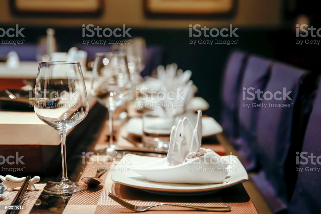 High end restaurant table setting stock photo