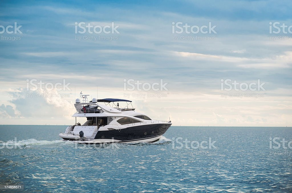 High end yatch sailing peacefully royalty-free stock photo