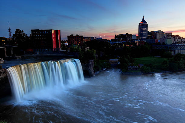 high falls and the rochester new york skyline - rochester ny skyline stock photos and pictures
