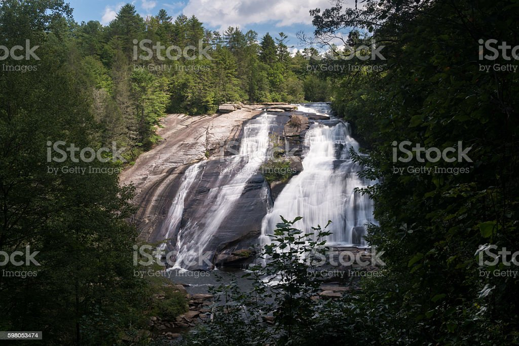 High Falls in Dupont State Forest North Carolina stock photo