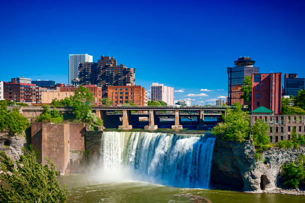 high falls in rochester, new york, usa - rochester ny skyline stock photos and pictures