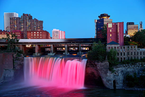 high falls rochester new york - rochester ny skyline stock photos and pictures