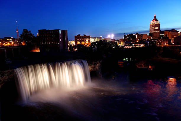 high falls rochester, new york - rochester ny skyline stock photos and pictures