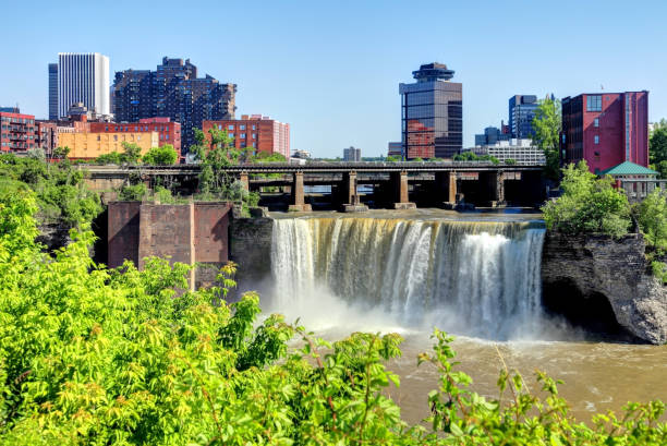 high falls, rochester - rochester ny skyline stock photos and pictures