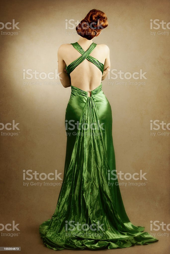 High fashion: elegant model from the back royalty-free stock photo
