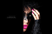 Masquerade. Beauty model woman in creative masquerade eye makeup with black detail, closeup half face portrait with raised hand in fingerless gloves. Fashion, beauty and makeup concept. Template design with sample text