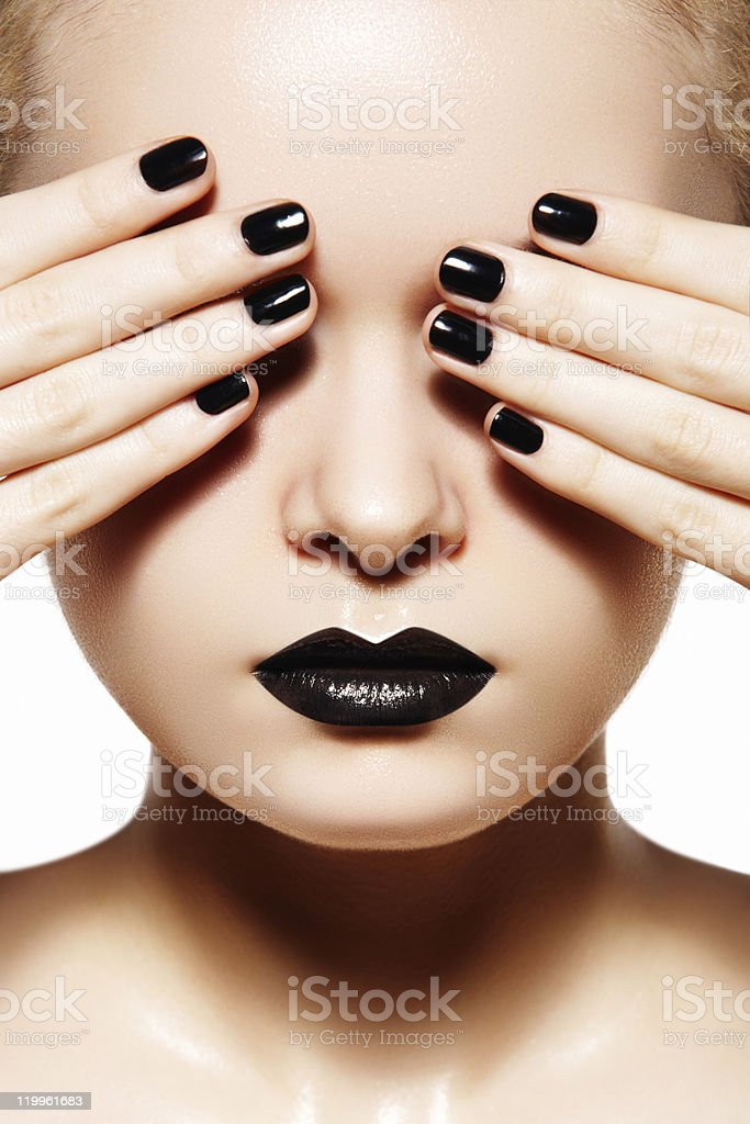 High fashion style, manicure. Black lips & nails stock photo