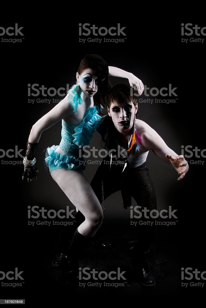 High fashion: two models  in extreme outfits and makeup stock photo