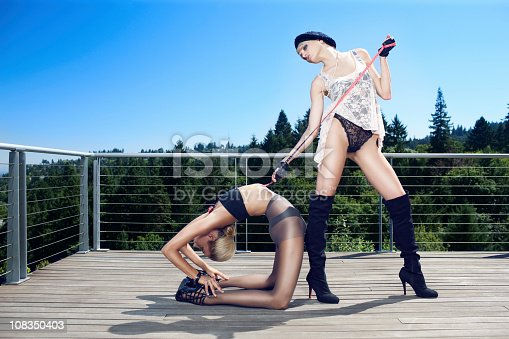 istock Beautiful Sexy Haute Couture Fashion Models Outdoors Doing Yoga 108350403