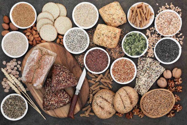 Alto contenido de fibra alimentos - foto de stock