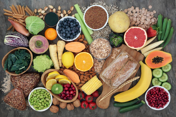 colección de alimentos super de alta fibra - vegana fotografías e imágenes de stock