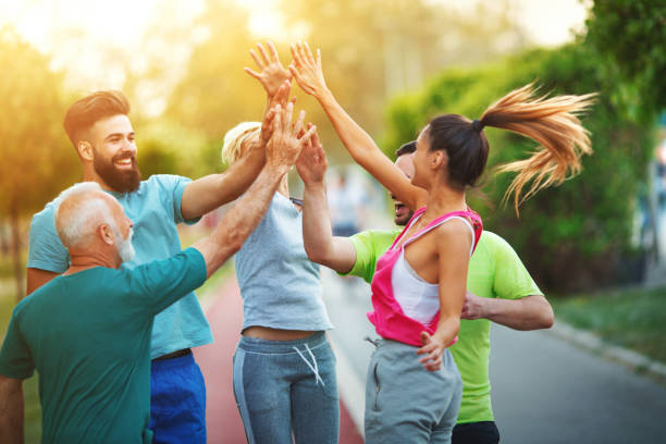 High five for the team. stock photo
