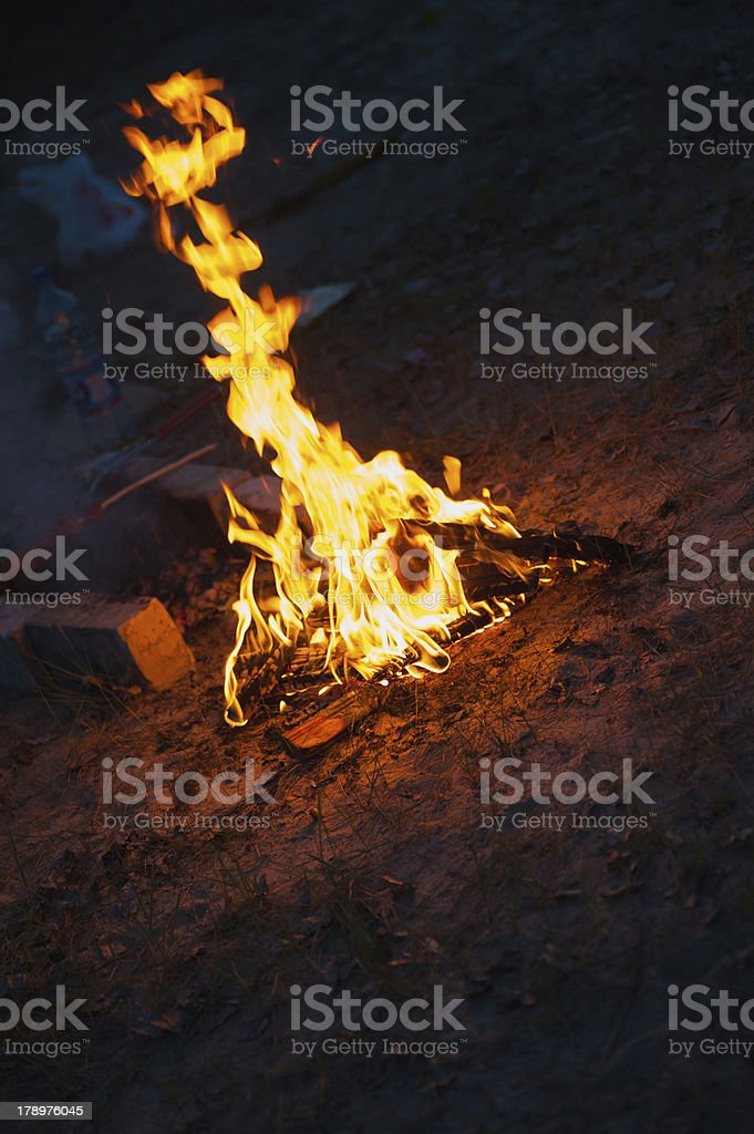 high flame of a bonfire. Night scene royalty-free stock photo