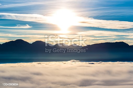 High fog and mountains in Bavaria