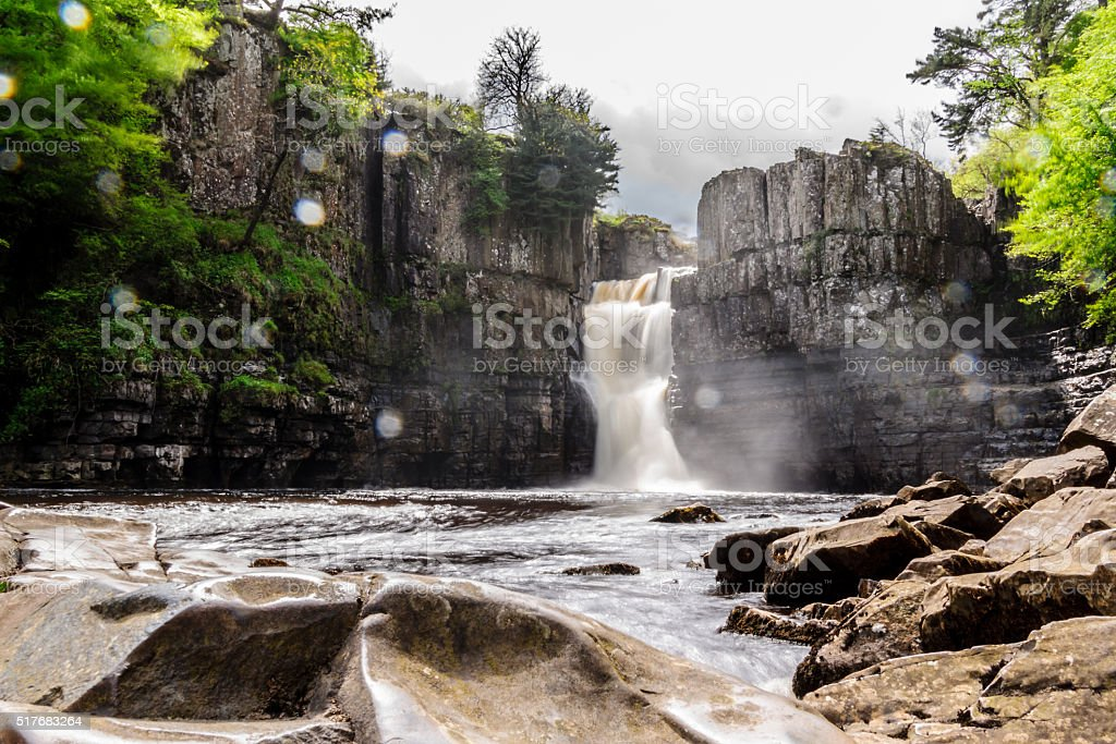 High force waterfall in raining day. stock photo