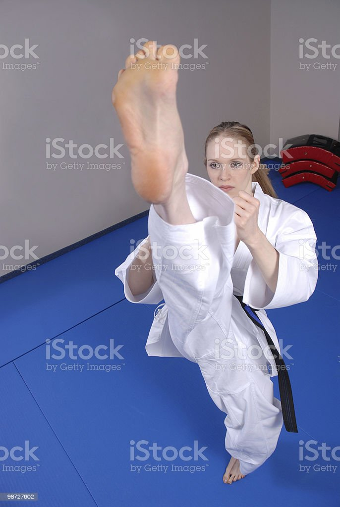 High front kick stock photo