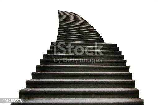 High front staircase up isolated on white background. Detail of the exterior.
