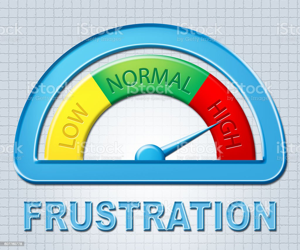High Frustration Shows Irritated Display And Annoyed stock photo