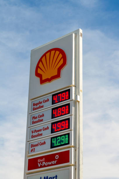 High Gas Prices on I-15 in Yermo, California stock photo