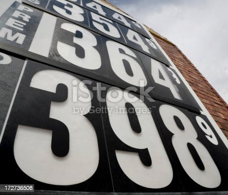 high gas prices sign from low angle view.Check out our other signs!