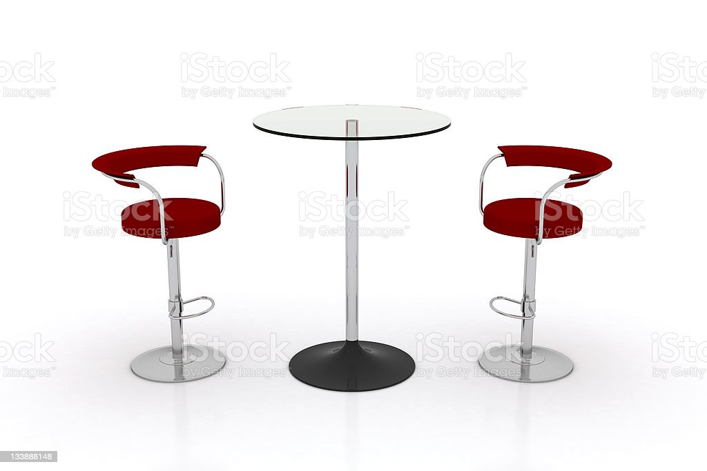 High Glass Top Table w Chairs stock photo