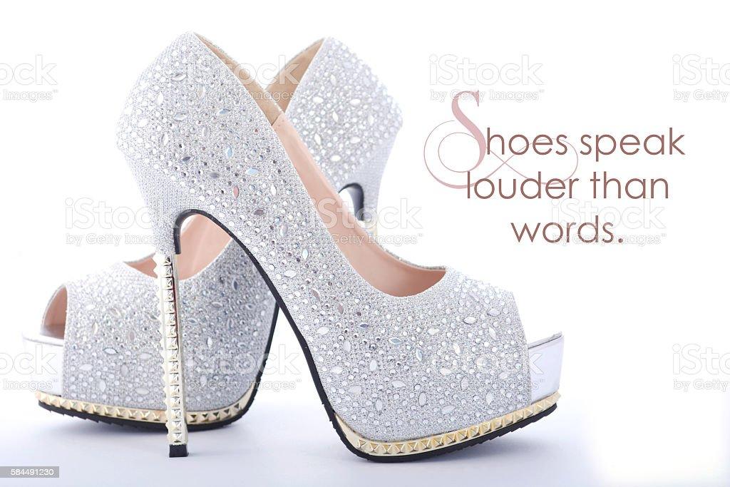 High Heel rhinestone shoes with funny saying stock photo