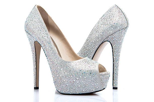high heel shoes covered with shiny gems - glitzer absätze stock-fotos und bilder