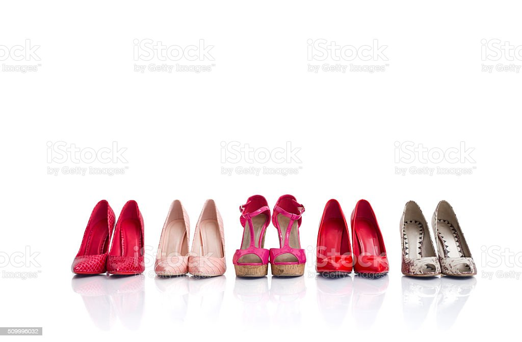 High heel shoes isolated on white background stock photo