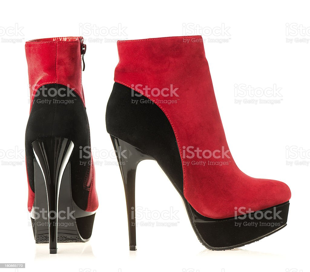 b02203f5893 High Heels Ankle Boots In Black And Red Stock Photo - Download Image ...