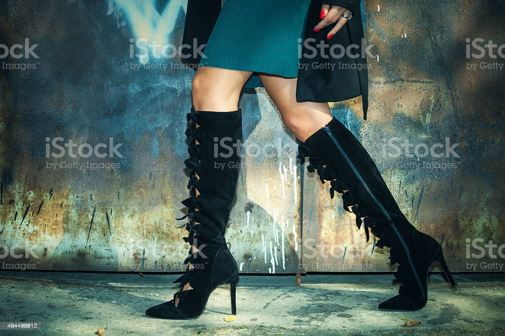 high heels boots stock photo