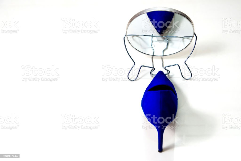 78e0ee75ee6 High Heels Footwear Reflection In The Mirror White Background Stock ...
