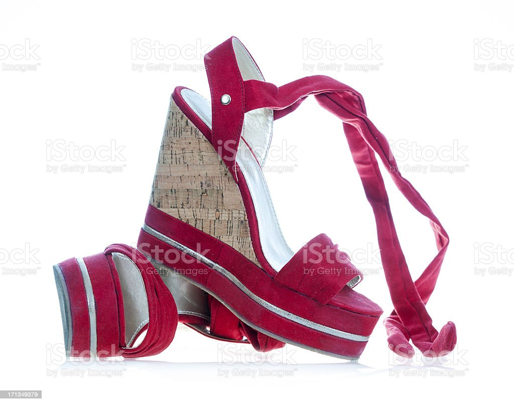 High heels in fashionable wedge style stock photo