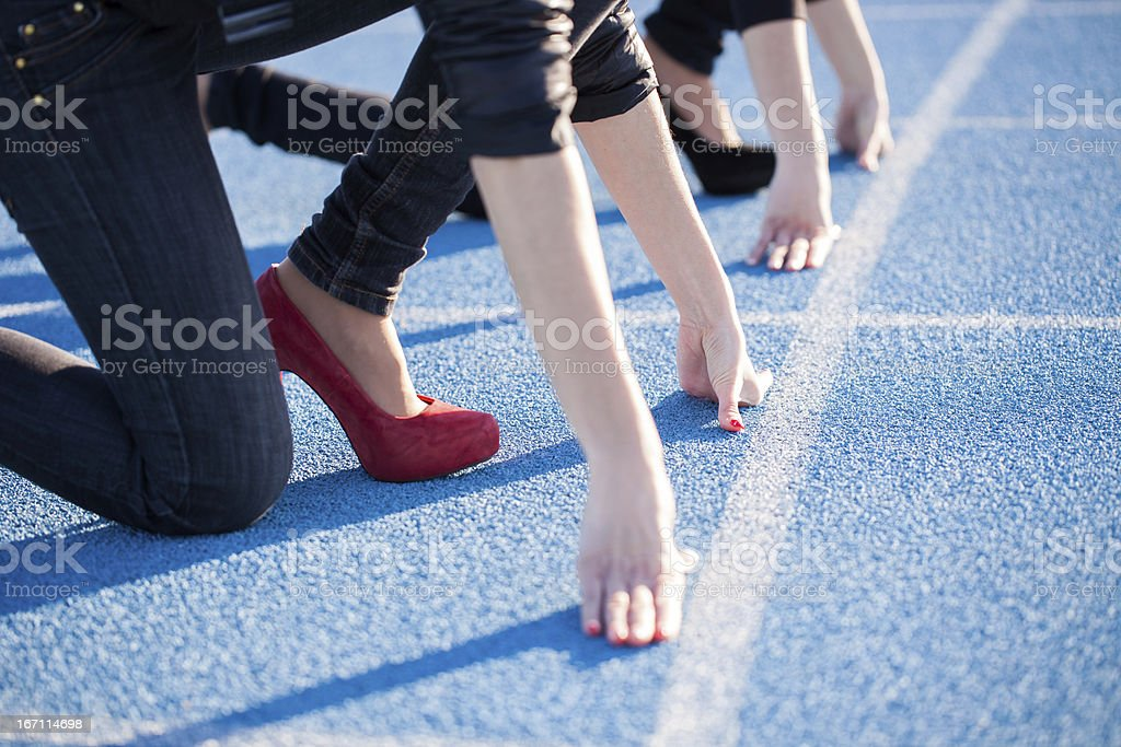 High Heels On The Running Track - Concept stock photo