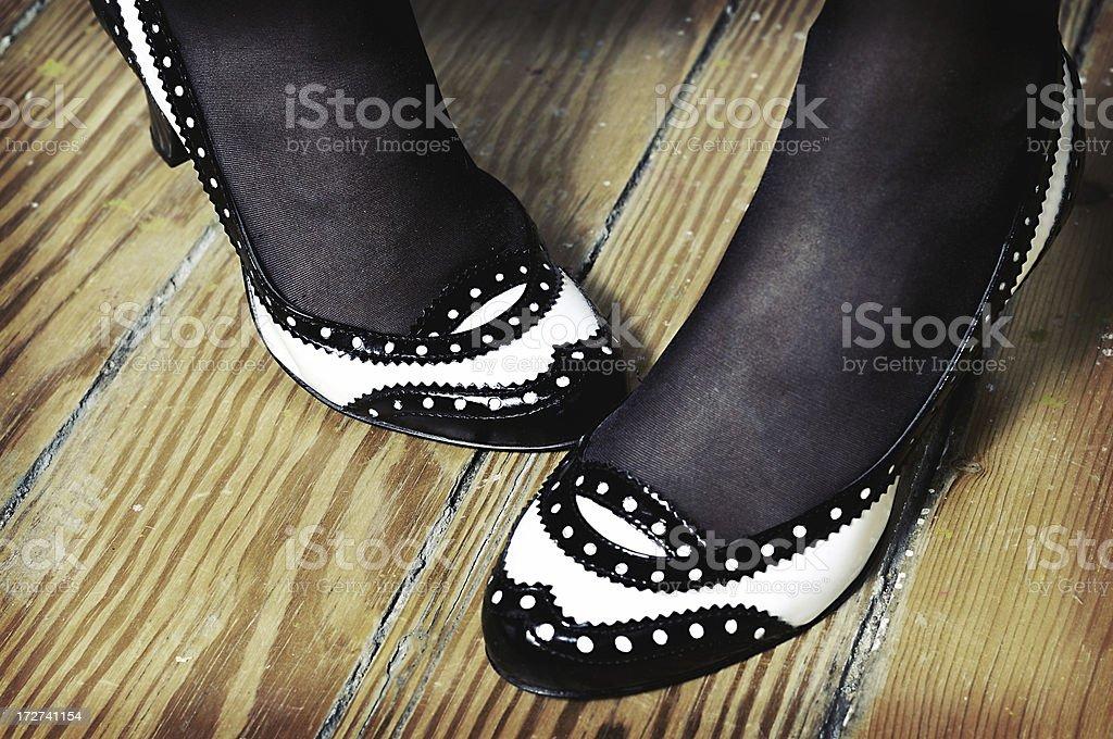 high heels on wood royalty-free stock photo
