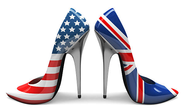 3D USA & UK High Heels stock photo