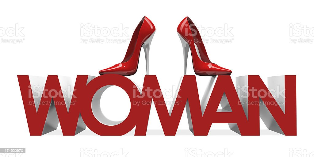 3D High Heels Shoes on Woman Word Full 3D render of red female high heels shoes on woman word a white background Beauty Stock Photo