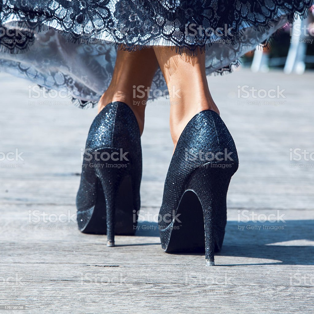 high hills shoes outdoors stock photo