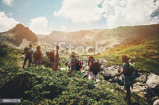Group of hikers standing on a footpath in the mountain contemplating the scenics.