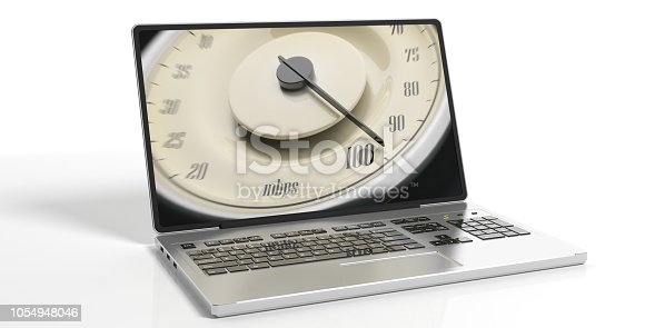 istock High internet speed. Vintage car gauge on a laptop screen isolated on white background. 3d illustration 1054948046