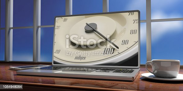 istock High internet speed. Vintage car gauge speedometer on a laptop screen, blur sky out of window. 3d illustration 1054948054
