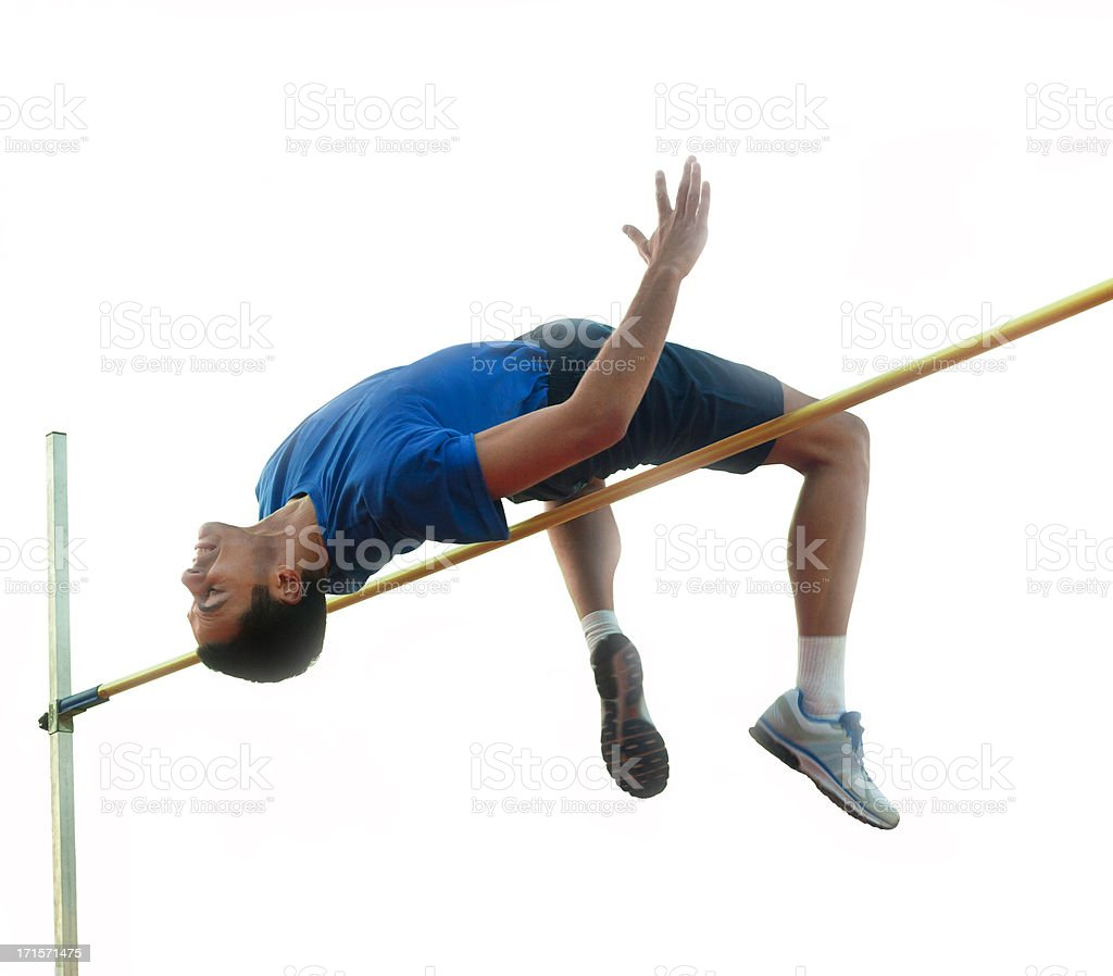 High Jumper Over Hurdle, Isolated On White stock photo