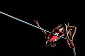 High jumper performing