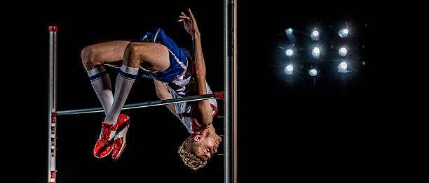 high jumper performing - horizontal bar stock photos and pictures