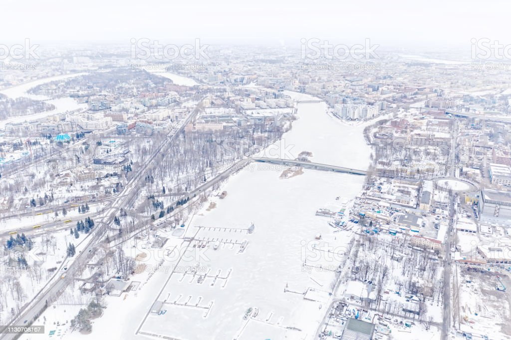Winter city. High key aerial panoramic view in Saint Petersburg,...