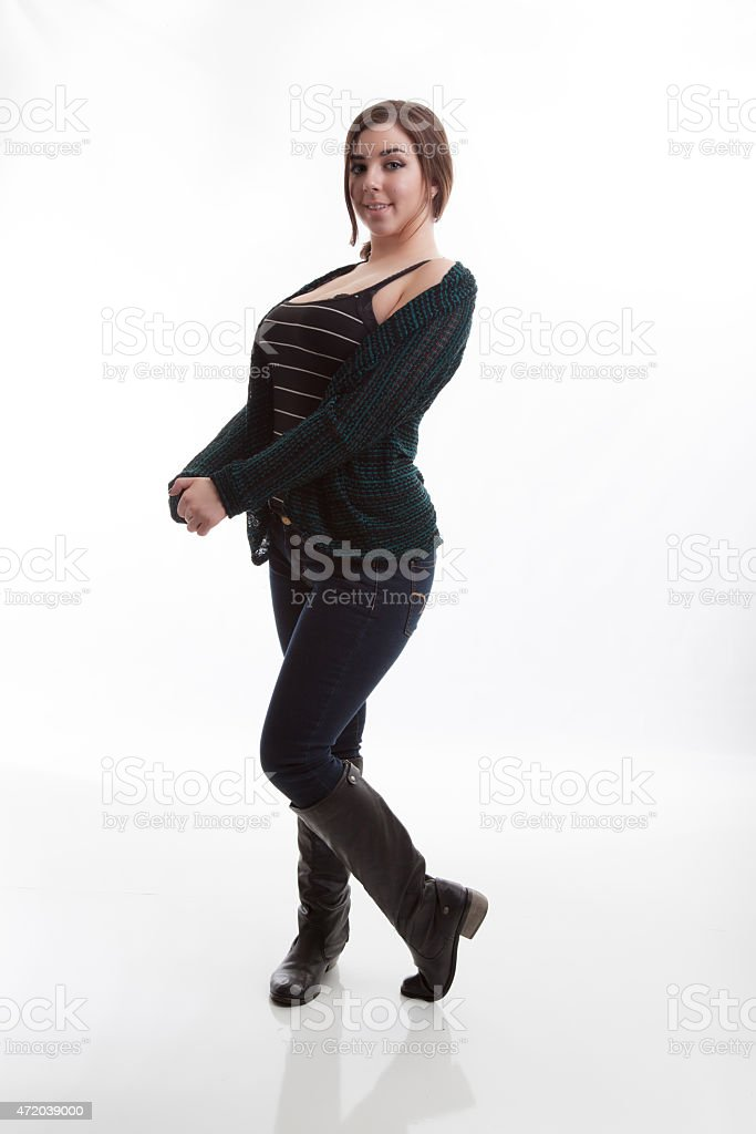 High Key Fashion Model Wearing Fall Colors Against White Background stock photo