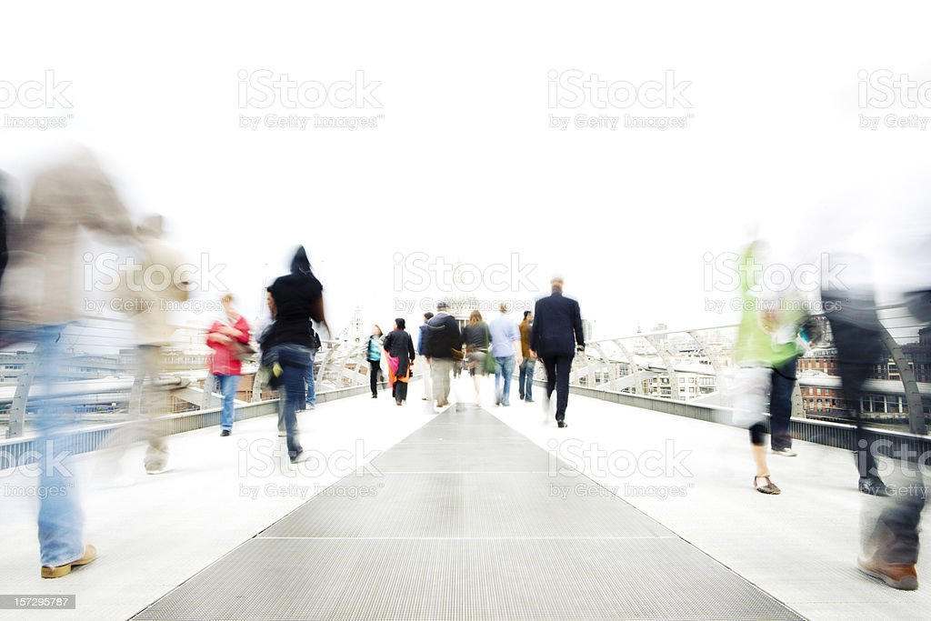 High key, long exposure bleached commuters in an urban setting stock photo