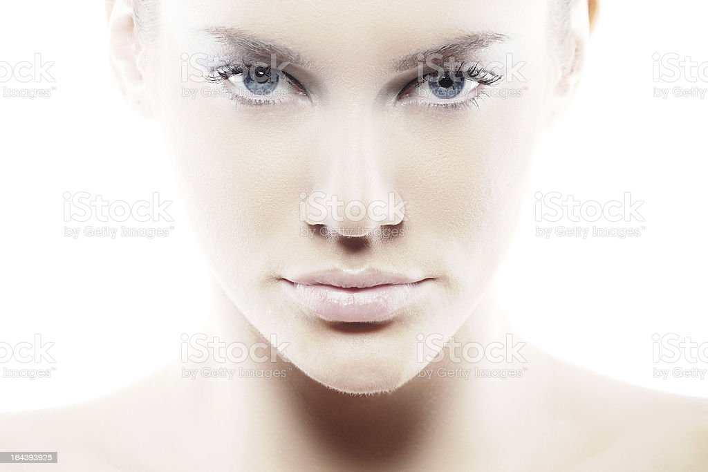 High key portrait of beauty with blue eyes royalty-free stock photo